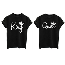 Women Queen King Letter Print Short Sleeve T-Shirt Couple Top Family Tee Shirt floral letter print tee