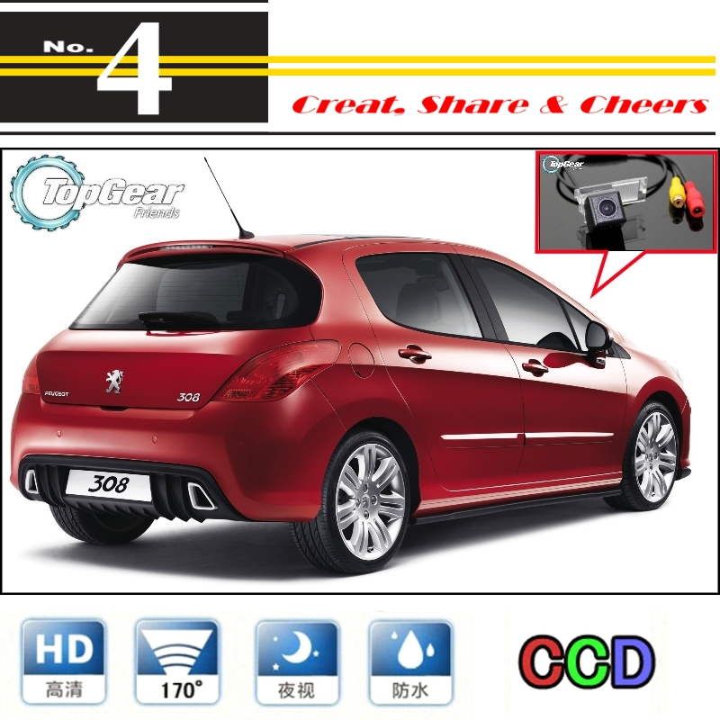 Car Camera For Peugeot 308 / 408 / 508 High Quality Rear View Back Up Waterproof Camera PAL / NTSC To Use   CCD + RCA Standard