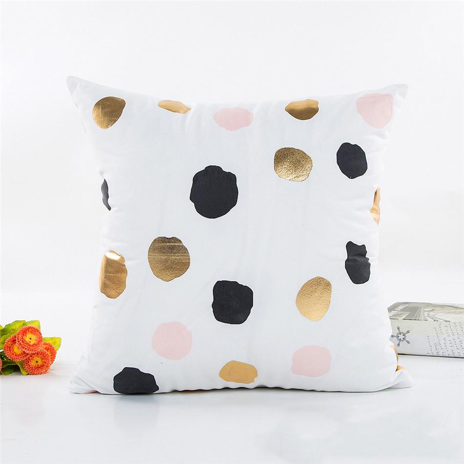 Geometria Bronzing Cushion Cover Strip Love Printed Cotton Pillows Case Sofa Bedroom Home Office Decorative Throw Pillowcases (4)