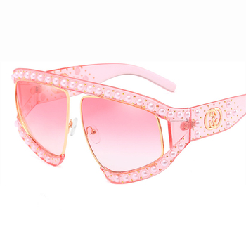 new women inlaid with pearl willow nail Sunglasses extravagant Europe and America big frame personality anti UV glassesOEM