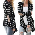 Women Long Sleeve Loose Cardigan Sweater Striped Knitwear Outwear Coats S M L XL