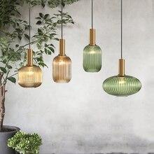 Цветные подвесные светильники, стеклянная Подвесная лампа с зеленым и серым оттенком для кухни, столовой, бара, скандинавский светодиодный подвесной светильник, Современная люминесцентная лампа E27