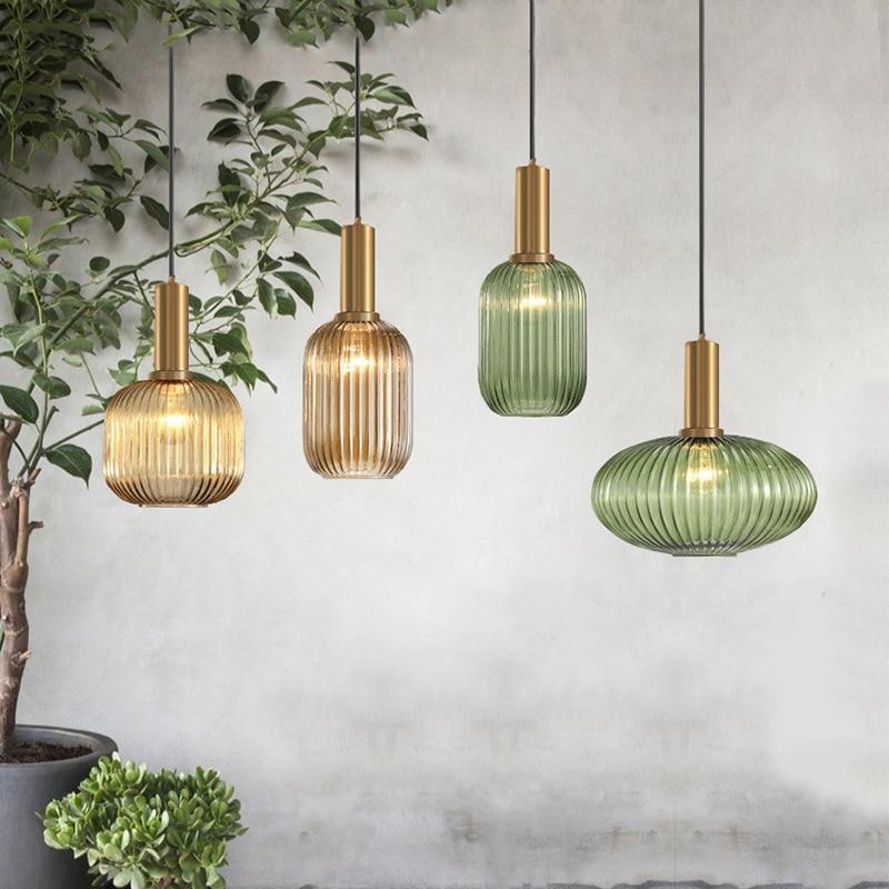 Color Pendant Lights Glass Hanging Lamp Green Gray Shade Kitchen Dining Room Bar Nordic Led Pendant Lamp Modern Luminária E27