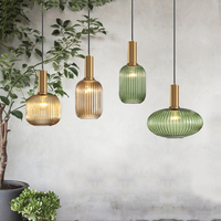 Color Pendnant Lights Glass Hanging Lamp Green Gray Shade Kitchen Dining Room Bar Nordic Led Pendant Lamp Modern luminária E27