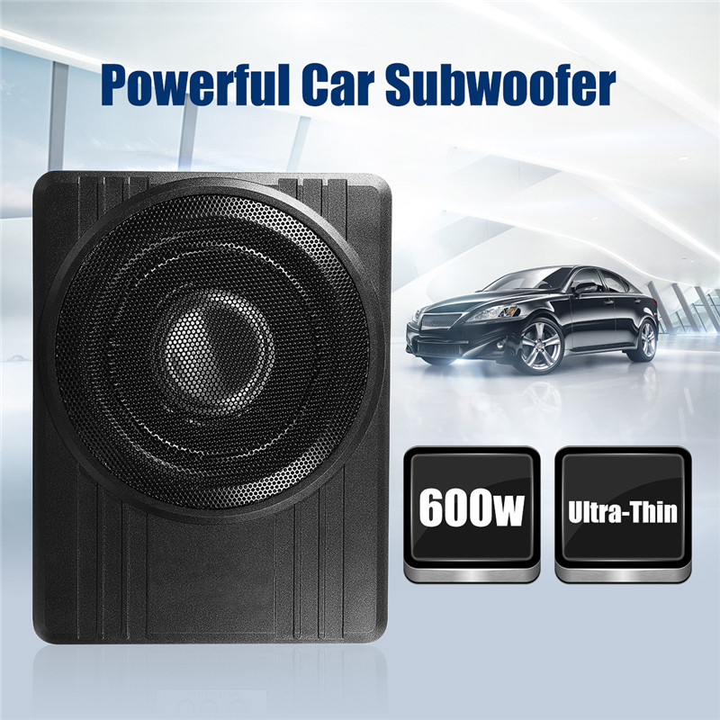 High Power Under-Seat Car Active Subwoofer Speaker 10 Inch 12V 600W Black Ultra-Thin Car Audio Active Sub Woofers Amplifier