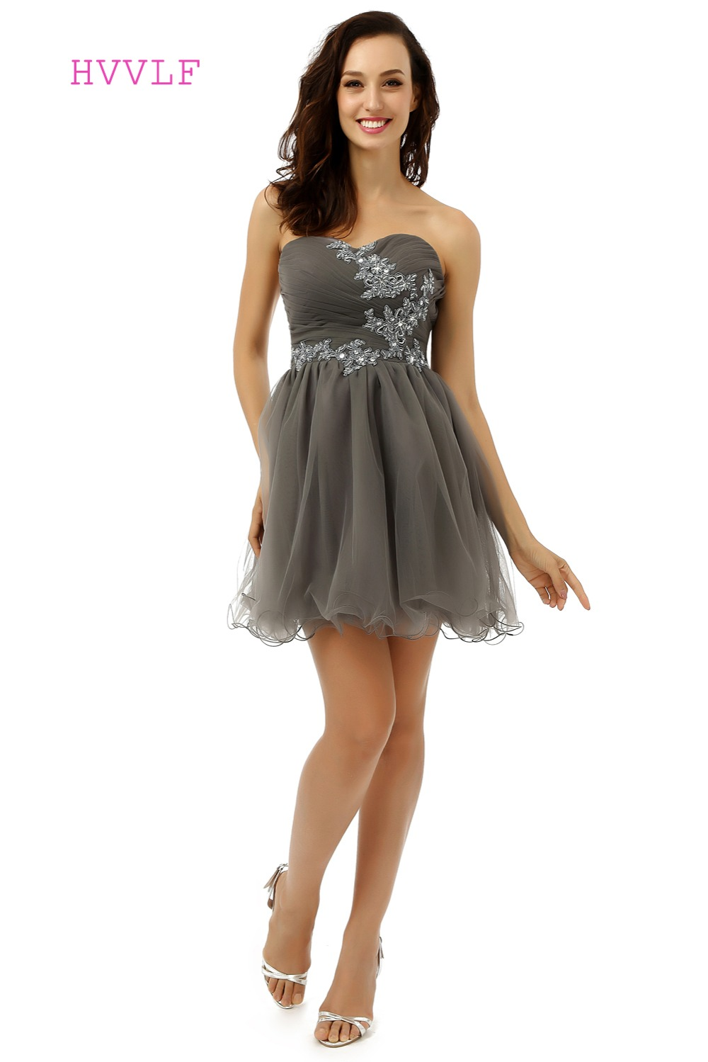 Gray Homecoming   Dresses   A-line Sweetheart Organza Appliques Lace Short Mini Sparkly Sweet 16   Cocktail     Dresses   2019