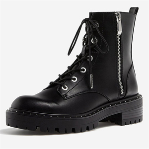 Image 3 - Boussac Lace up Rivets Martin Boots Women Round Toe Ankle Boots for Women Short Plush Winter Shoes Women Botas Mujer SWE0212