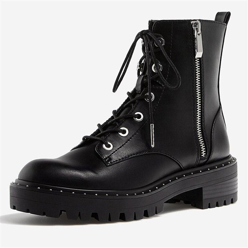 Image 3 - Boussac/Ботинки Martin на шнуровке с заклепками; женские ботильоны с круглым носком; короткие плюшевые зимние ботинки; женская обувь; Botas Mujer; SWE0212-in Полусапожки from Обувь