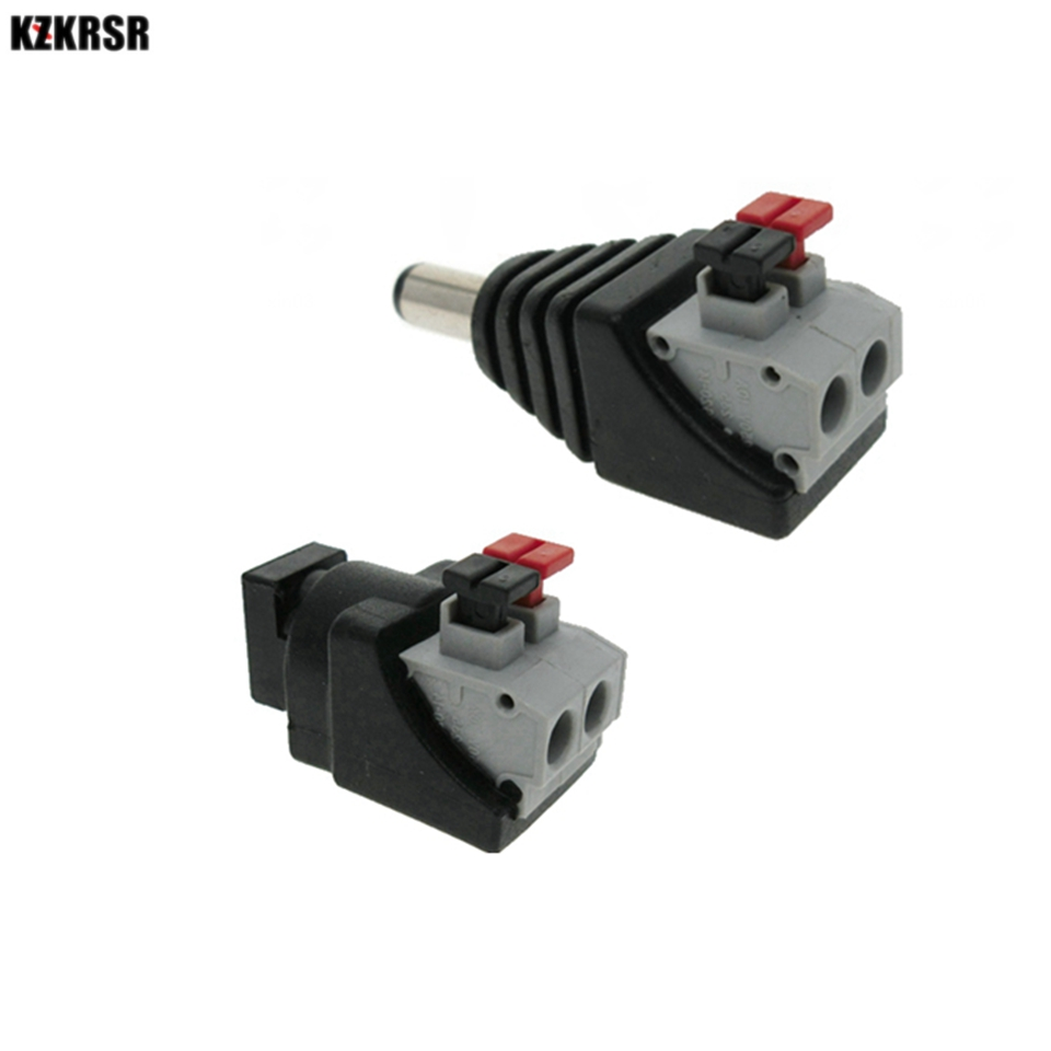 Connectors Devoted Kzkrsr Dc Male Female Connector 2.1*5.5mm Dc Power Jack Plug Connector For 3528/5050/5730 Single Color Led Strip Smoothing Circulation And Stopping Pains Lighting Accessories
