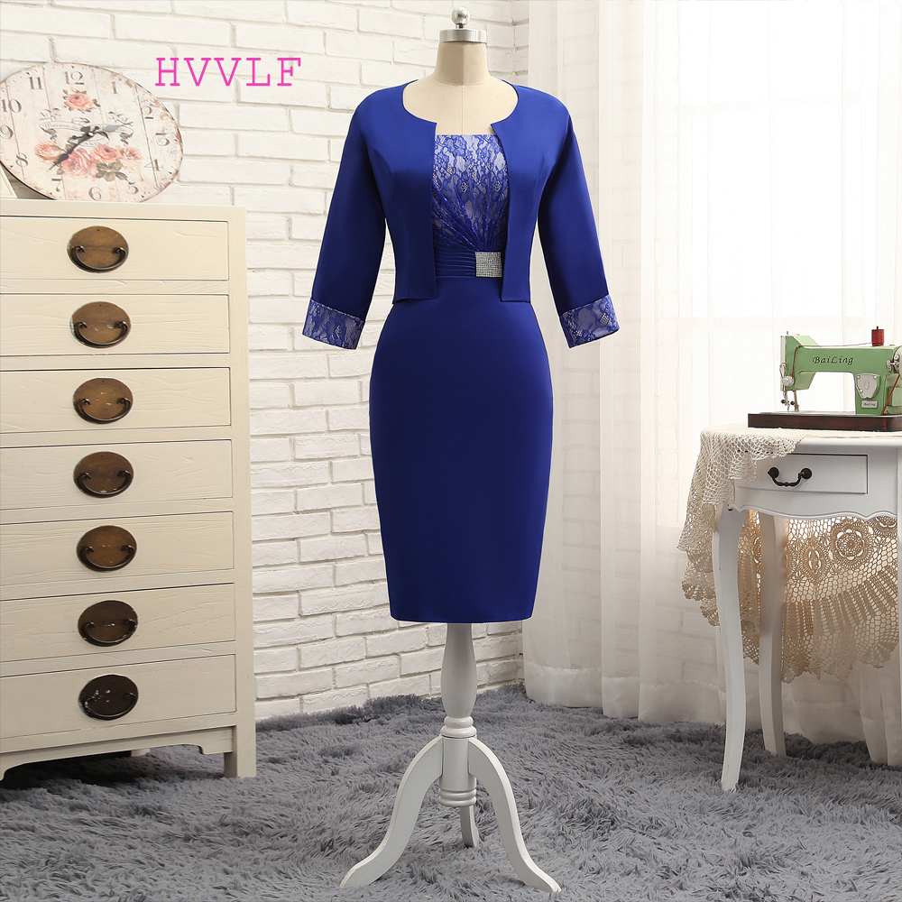 Plus Size Royal Blue 2018 Mother Of The Bride Dresses Sheath With Jacket Satin Lace Wedding Party Dress Mother Dress For Wedding
