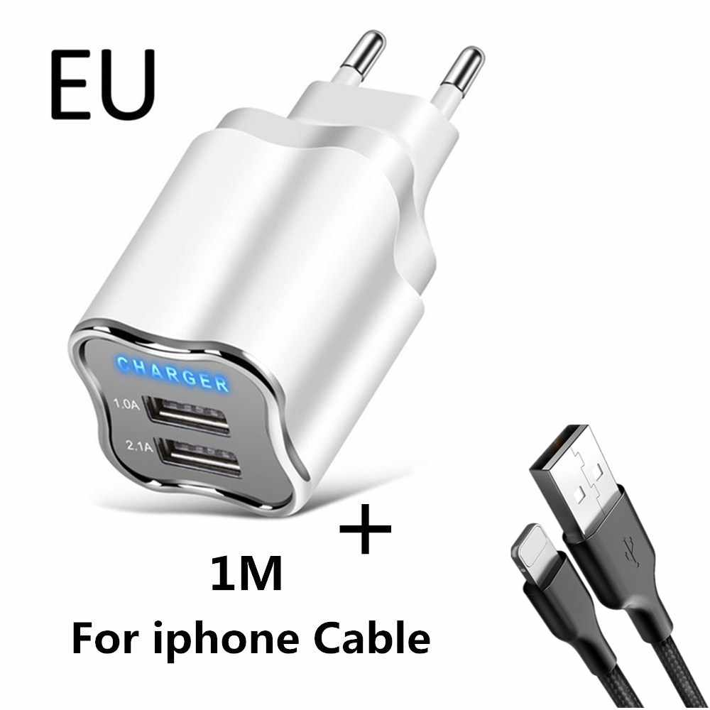 5V 2.1A LED 2 USB Charger for iPhone 8 7 6 iPad Good Wall Charger EU/US Plug Adapter Samsung Huawei Xiaomi Mobile Phone Chargers