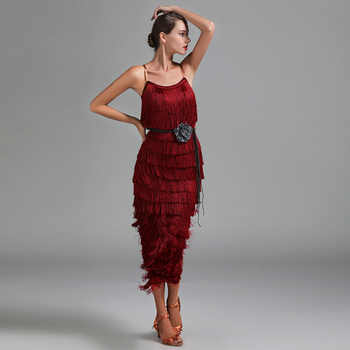 Lady Latin Clothes Fringe Dresses Salsa Latin Cha Cha Dancing Skirt Of Woman Red Green Gold Ballroom Practice Wear Baju Latin - DISCOUNT ITEM  5 OFF Novelty & Special Use