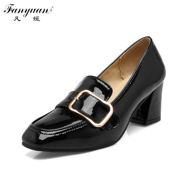 New Spring Summer Women Pumps Thick Heel Sexy Metal Decor Patent Leather Med High Heels 2017 Hot Sale American Slip-on Shoes
