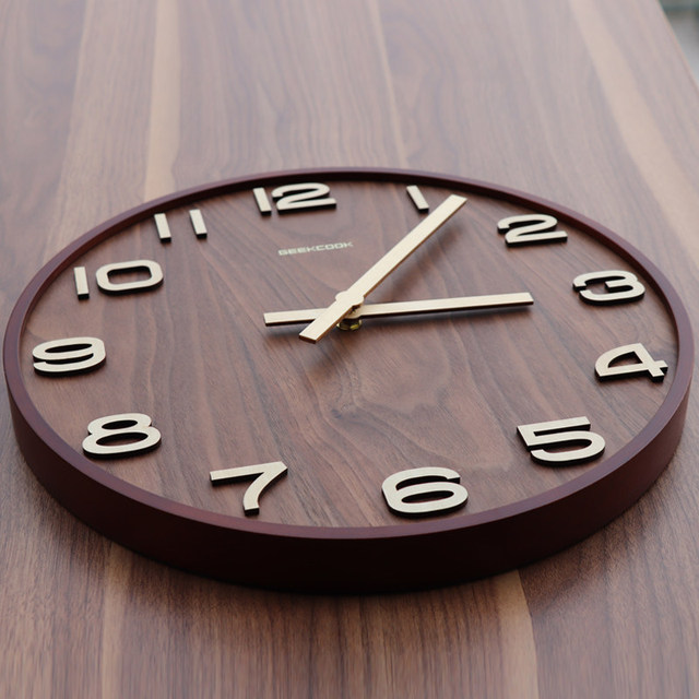 New Chinese bedroom wall clock mute living room solid wood classical quartz home decoration creative wall charts
