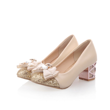 spring autumn single shoes fashion shallow women pumps sweet bowknot med heels ladies shoes college style