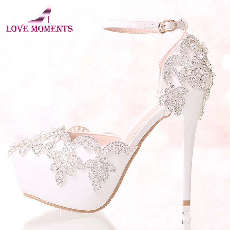 Ankle Strap White Wedding Shoes with Rhinestone Comfortable Bridal Dress Shoes Summer Women Pumps with Straps