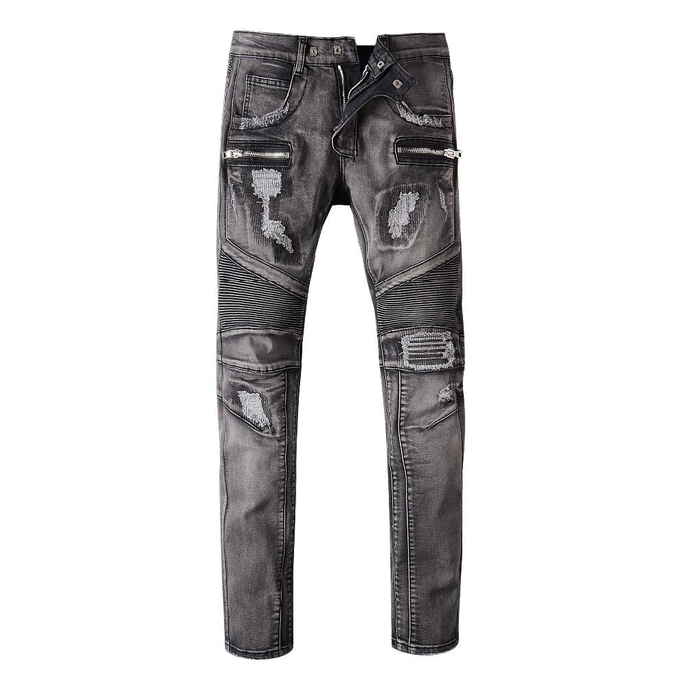 ФОТО Plus Size 28 38 Fashion Slim Fold Jeans For Men Casual Long Pants Male Singer Skinny Trousers Costume Nightclub Men's Ds