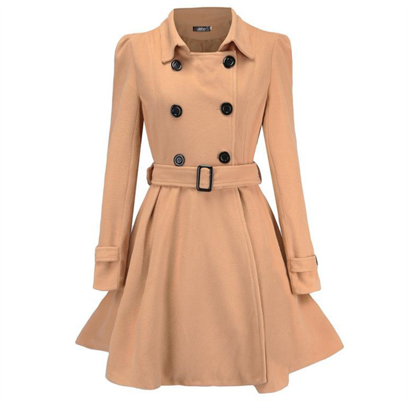 New Arrival 2018 Clothing Fashion Toyouth Elegant Bodycon Ruffles Coat Casual Windbreaker Long Ladies Wool Coat