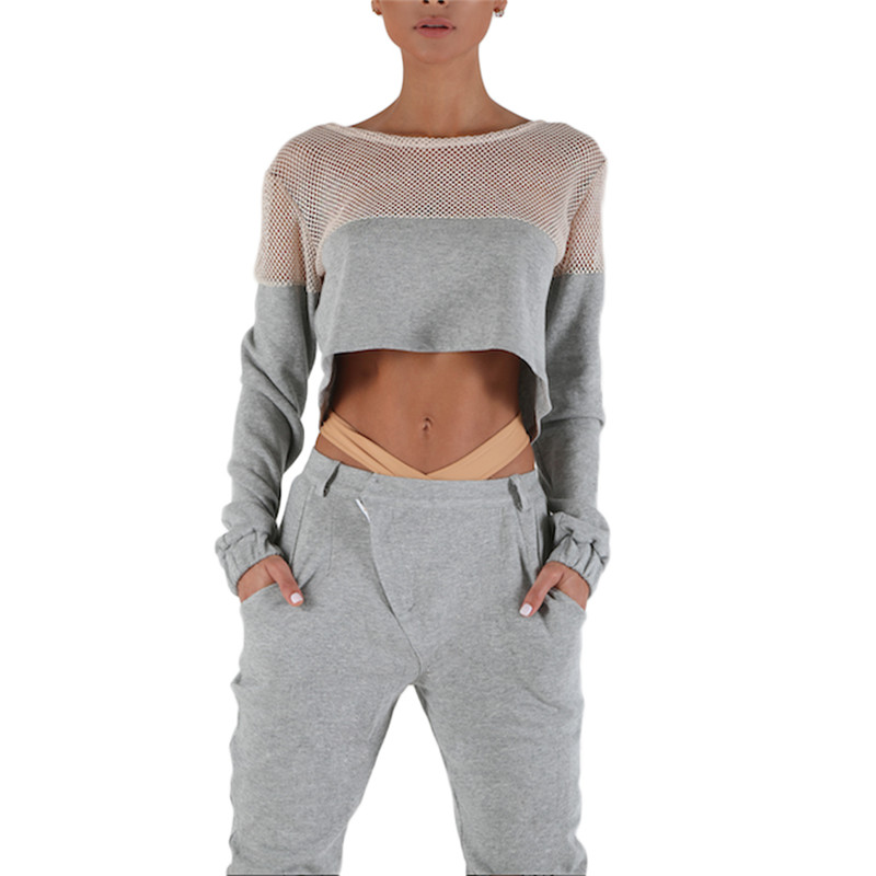 2016 Beauty Charm Women s Net Yarn Sportswear Gray Two Pieces Coats Pants camisetas mujer