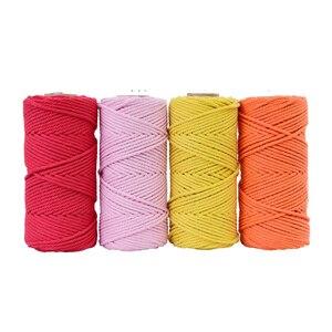 Image 2 - 4mm x 100m 100% cabo de algodão corda colorida bege trançado artesanato macrame corda diy casamento casa têxtil fonte decorativa