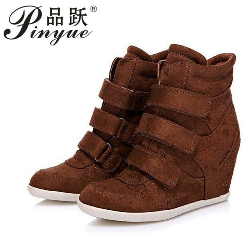 Women s Boots Genuine Leather Height Increasing Platform Wedges Ankle Boots Women Trainers High Top Sneakers