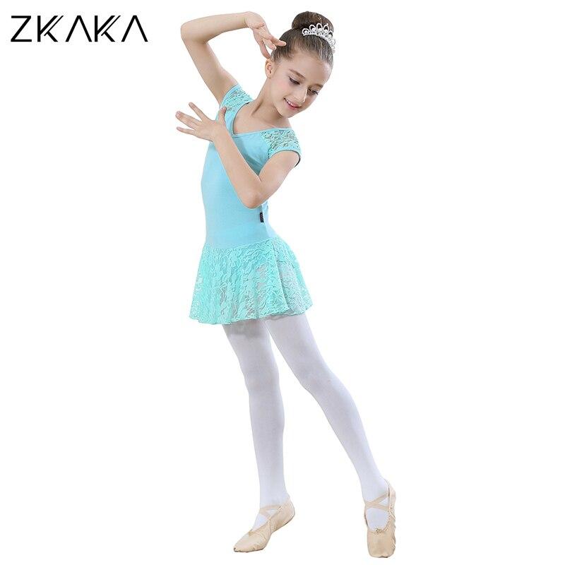 ZKAKA justaucorps pour filles à manches courtes costume collants s Costumes de Ballet Performance pratique porter des vêtements de danse - 4