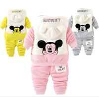 1 4years Cartoon Minnie baby boys clothing set children hoodies pants thicken winter warm clothes boys girls sets 3pcs set