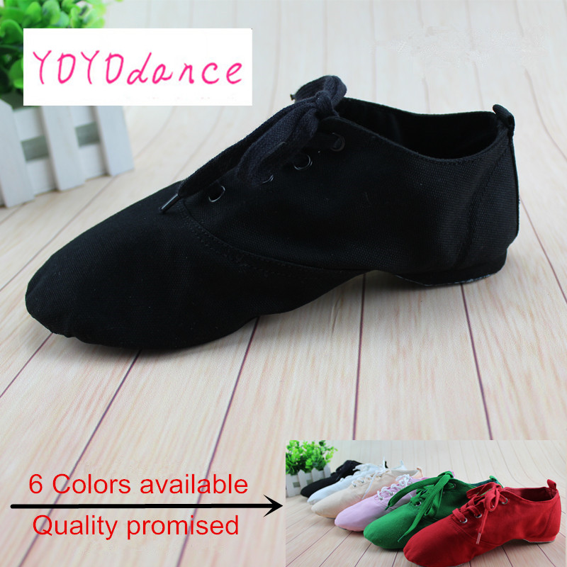 Nya 2019 Women Men Jazz Dance Shoes Flats Designer Mjuk Snörning Up Canvas Jazz Shoes Knot Dance Shoes Women