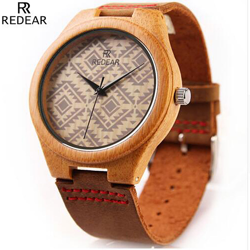 REDEAR Bamboo Wooden Watch Men Unique Design Top Brand Wrist watches Wood Men's Watch Clock saat relogio masculino reloj hombre