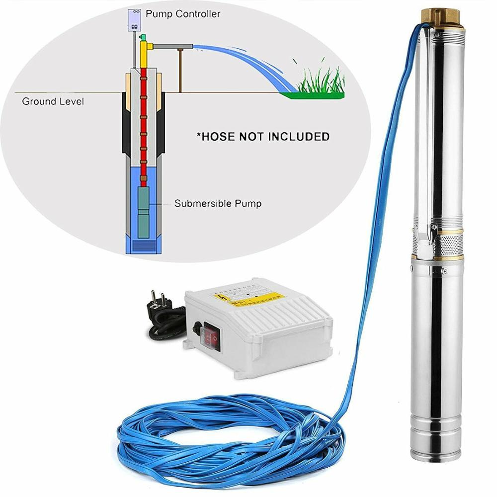 4000 L/h Deep Well Pump Submersible Pump Stainless Steel Tube Pump 6.7bar 0.75KW For Outdoor Garden Home Used Pumping Machine
