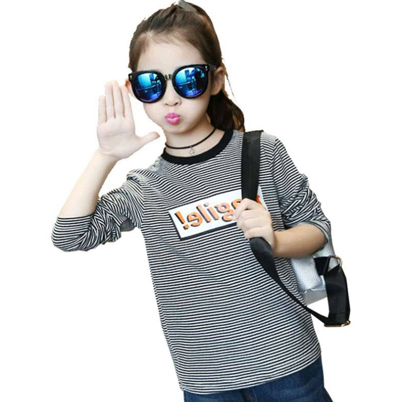 Girls Black White Striped T-shirts Long Sleeve Kids Cotton Tops 2019 Spring For 5-13 Yrs Big Girls Clothes GT82