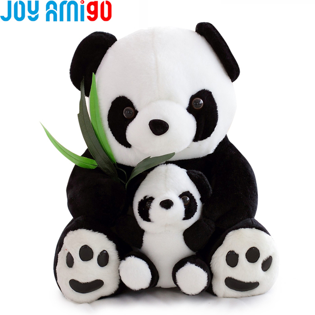 Adorable Sitting Mother and Baby Panda Eating Bamboo Plush Animal Stuffed  Toy Dolls kids toys 25cm 10inch Present For kId 35a64bfc3452