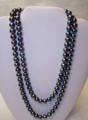 free shipping   AA+ 8-9mm tahitian black pearl necklace 48inch