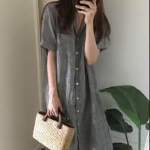 3417cc9b96277 Mori fille D été Chemise robe femmes 2019 Lolita Rayé bande de Grande Taille  XXXL Lâche Plage Maxi Longue chemise Robes Robe LJ2.