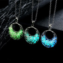 HOMOD Hot Sale Statement Neclace Hollow Heart Pendant Glow In Dark Long Necklace For Women Water Drop Glowing Maxi New