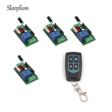 Sleeplion AC 220V 10A 1Channel Relay RF Wireless Power ON/OFF Waterproof Remote Control Switch 4-key Transmitter +4 Receiver