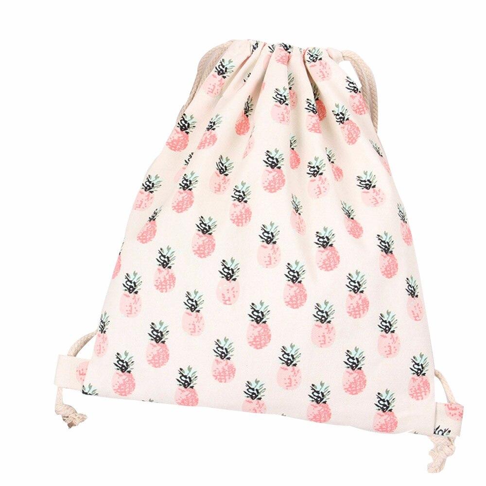 Sleeper #5001 2018 Women Pineapple Drawstring Beam Port Shopping Bag Rucksack Travel Supply Printed Design Hot New Drop Shipping