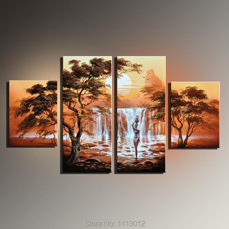 Frameless Handmade Oil Painting Canvas African Women Modern 4 Piece Wall Art Home Decoration