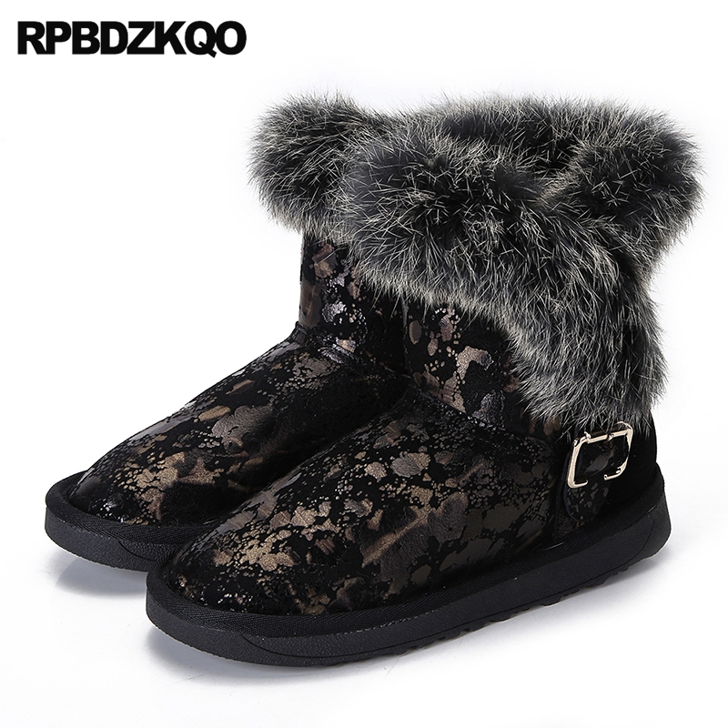 Furry Winter Snow Boots Women Ankle Booties Shoes Flat Black Faux Fur Ladies Slip On Metal New 2017 Female Fashion Chinese Short