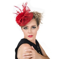 Graceful Women Bride Handmade Feather Flower Netting Hat Hair Pin Clips Headdress Wedding Accessory
