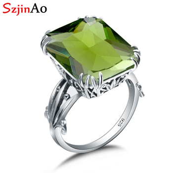 d3f80cafa048 SzjinAo Real anillo de Plata de Ley 925 joyería India flor vid puntas  configuración gema accesorios de moda Peridot anillos para las mujeres