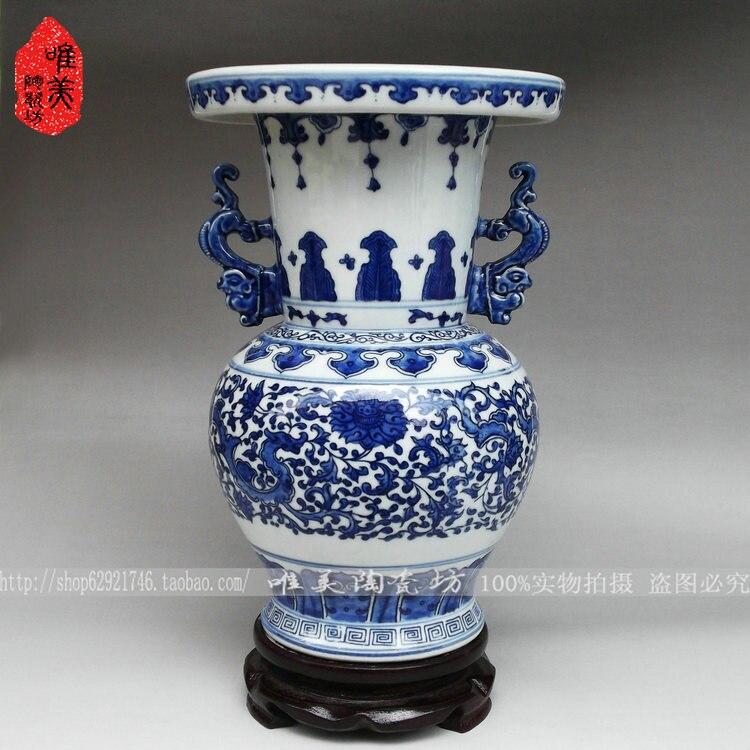 ceramica bottiglia di loto decorazione della casa antico blu e bianco porcellana vaso interauraleceramica bottiglia di loto decorazione della casa antico blu e bianco porcellana vaso interaurale