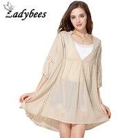 LADYBEES 4XL Plus Size Blouses Women Loose Casual Shirt Dress Long Hollow Out Top Beach Wear