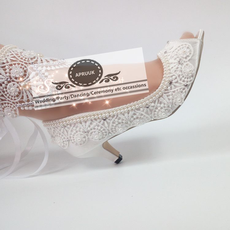 5CM/8CM/10CM customized satin wedding shoes bride handmade lace pearls ankle satin band ladies party bridesmaid pumps HS353