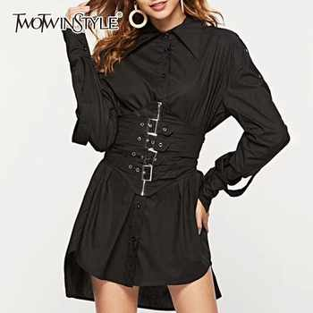 TWOTWINSTYLE Autumn Dresses For Women Lapel Long Sleeve High Waist Adjustable Waist Mini Dress Female Fashion Clothing New 2019 - DISCOUNT ITEM  40% OFF All Category