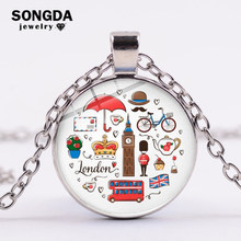 SONGDA Classic London England Theme Pendant Necklace Red Double-decker Bus Big Ben Cartoon Printed Chain Necklace Travel Jewelry(China)