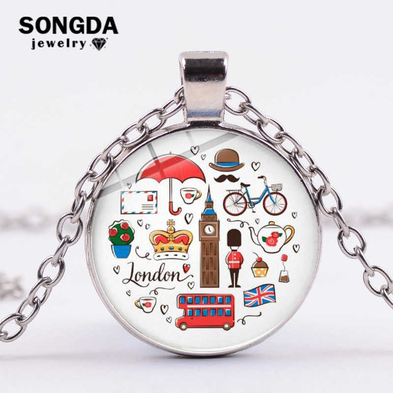 SONGDA Classic London England Theme Pendant Necklace Red Double-decker Bus Big Ben Cartoon Printed Chain Necklace Travel Jewelry