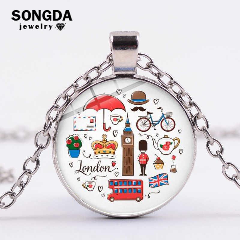 SONGDA klasik londra İngiltere tema kolye kolye kırmızı çift katlı otobüs Big Ben karikatür baskılı zincir kolye seyahat takı