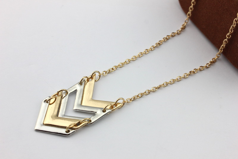 Trendy new gold chain design long chevron pendant necklace gold trendy new gold chain design long chevron pendant necklace gold and silver statement necklace simple everyday jewelry in pendant necklaces from jewelry aloadofball Image collections