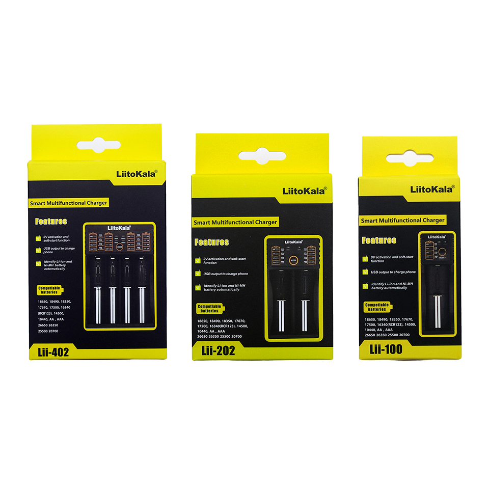 2020  Liitokala Lii-402 202 100 Plug 3.7V/1.2V AA/AAA 18650/26650/16340/14500/10440/18500 26500 Battery LCD Charger With Screen